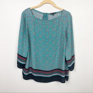 Adrianna Papell Turquoise Quarter Sleeve Blouse